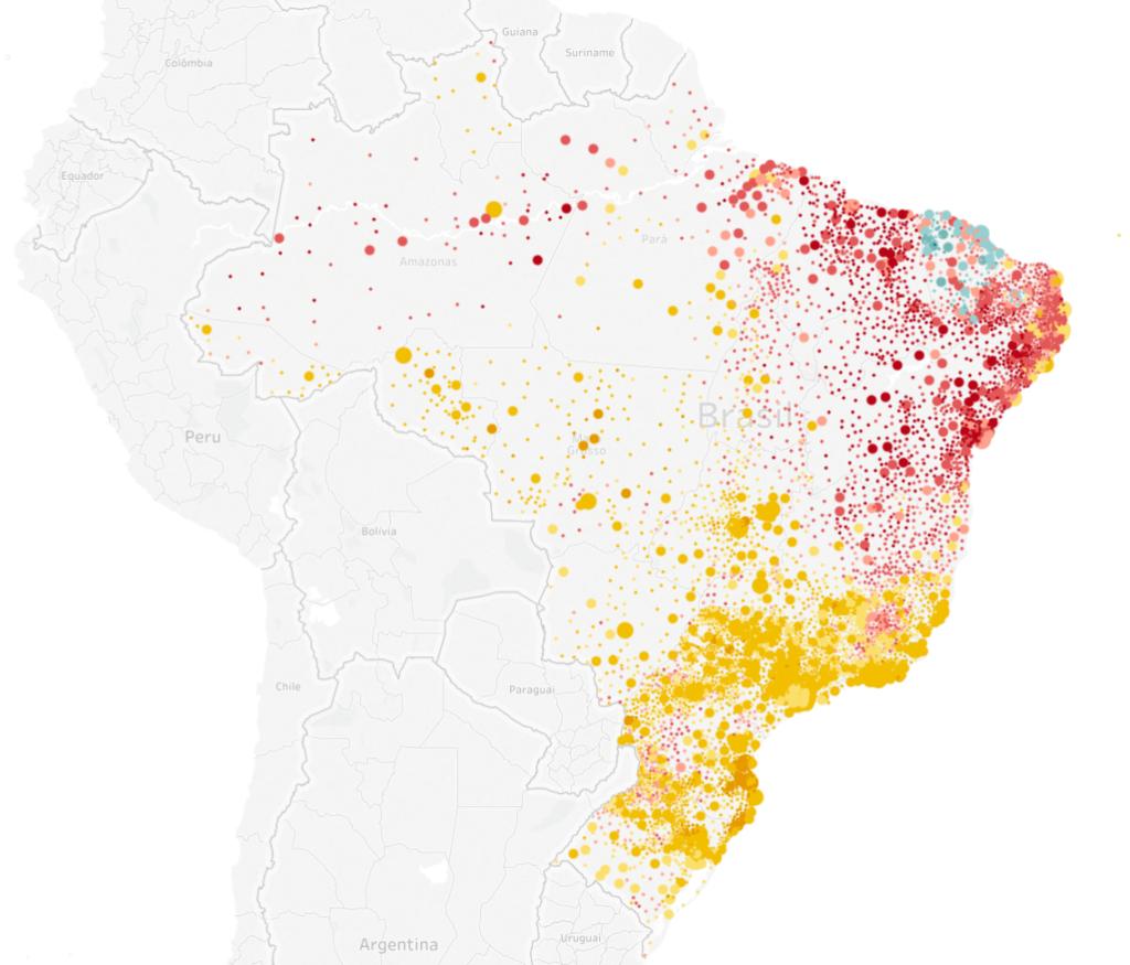 Mapa eleitoral de presidente por municípios, ajustado de acordo com a quantidade de eleitores | Eleições 2018 | Gazeta do Povo