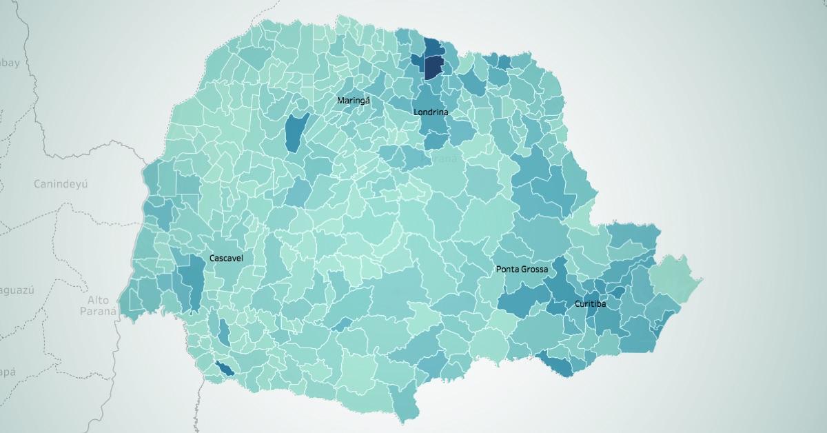 Desempenho por municípios dos 54 deputados estaduais eleitos pelo Paraná nas Eleições 2018. Na imagem em destaque, mapa eleitoral do Delegado Francischini (PSL), o candidato mais votado.