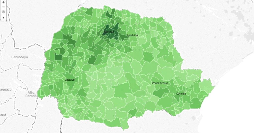 Mapa da votação para deputado federal do Paraná