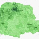 Desempenho por municípios dos 30 deputados federais eleitos pelo Paraná nas Eleições 2018. Na imagem em destaque, mapa eleitoral do Sargento Fahur (PSD), o candidato mais votado.