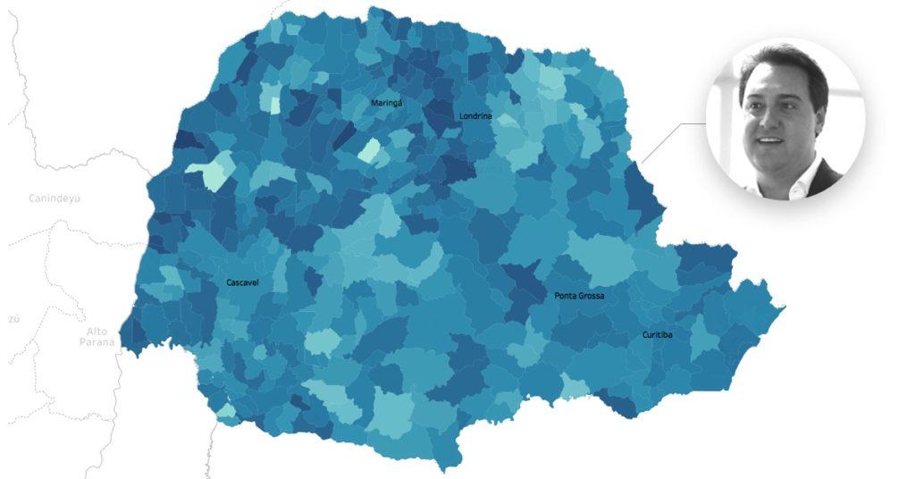 Mapa da votação para governador do Paraná