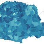 Mapa eleitoral de 2018 do governador eleito Ratinho Jr., em % das intenções de voto em cada município. Foto: Alexandre Mazzo/Gazeta do Povo