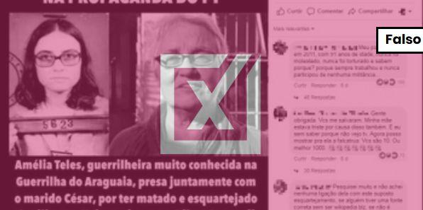 Não é verdade que Amelinha Teles tenha matado militares na ditadura