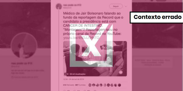 """Médico de Bolsonaro disse """"câncer de intestino"""" em vídeo de reportagem, mas como brincadeira"""
