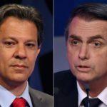 Montagem com fotos de Haddad e Bolsonaro lado a lado.