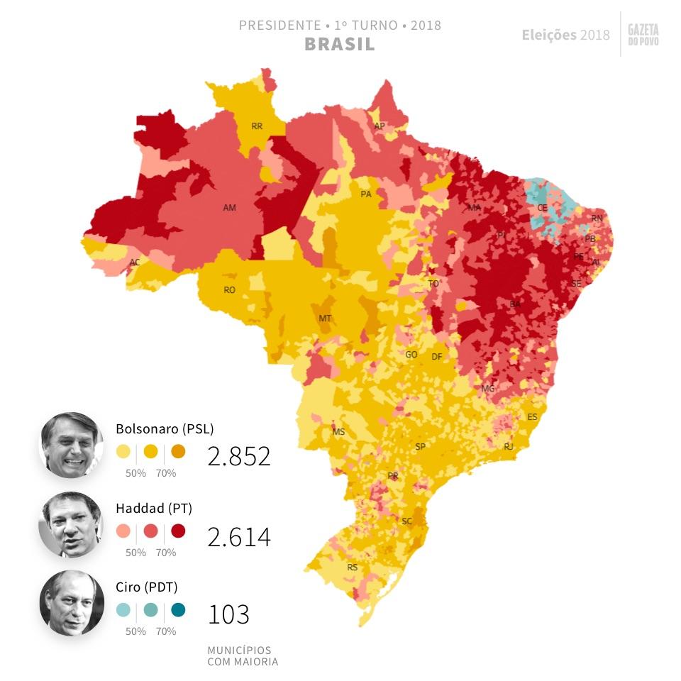 Mapa eleitoral de presidente por municípios | Eleições 2018 | Gazeta do Povo