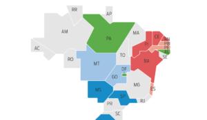 Veja quais partidos ganharam as eleições de governo estadual no Brasil de 1994 a 2018. O gráfico considera os maiores partidos que elegeram governadores em todas as eleições dentro deste período. MDB, PT e PSDB levaram mais estados em 2014, quadro que mudou em 2018, com recuo dos grandes partidos. PT, com 4 estados, é o partido com mais governadores. PSDB, DEM e PSB empataram, com 3 estados cada.