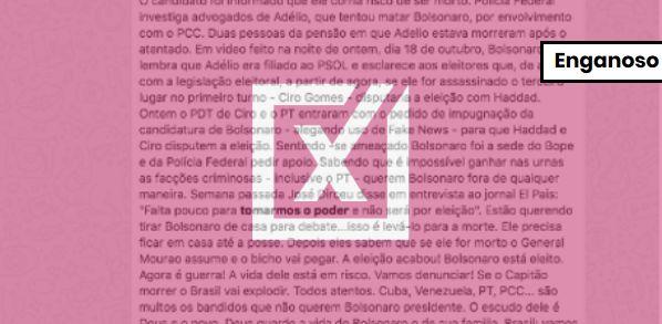 Texto sobre atentado a Bolsonaro mistura fatos que não se relacionam
