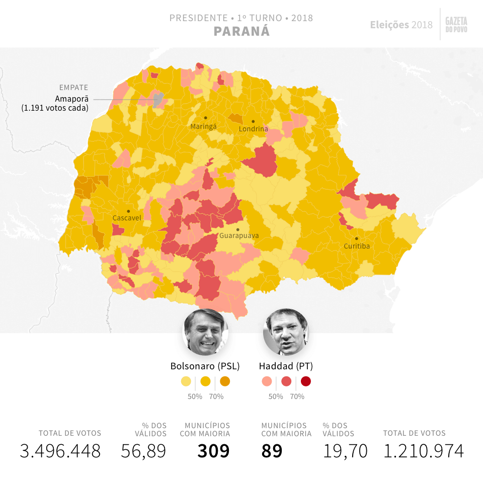 Mapa eleitoral: Resultado para Presidente no Paraná no 2º turno | Eleições 2018 | Gazeta do Povo