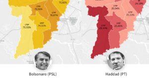 Mapa eleitoral de Curitiba por zonas eleitorais. Em Curitiba, Bolsonaro (PSL) fez 76,54% dos votos no 2º turno e ganhou em todas as zonas eleitorais. Veja o mapa eleitoral da cidade com o resultado da votação do presidente eleito e de Fernando Haddad (PT)